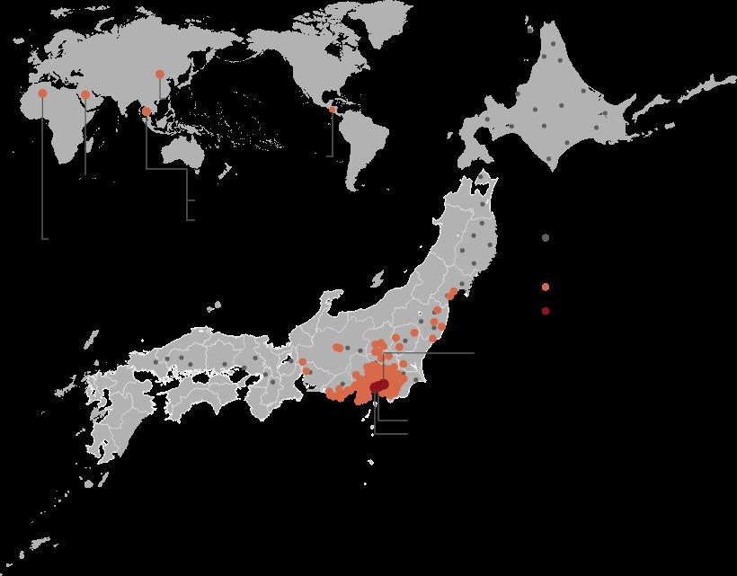 施工・納入の実績地図